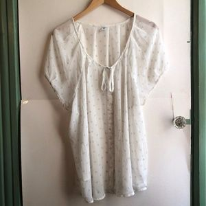 OLD NAVY White Printed Button Down Peasant Blouse